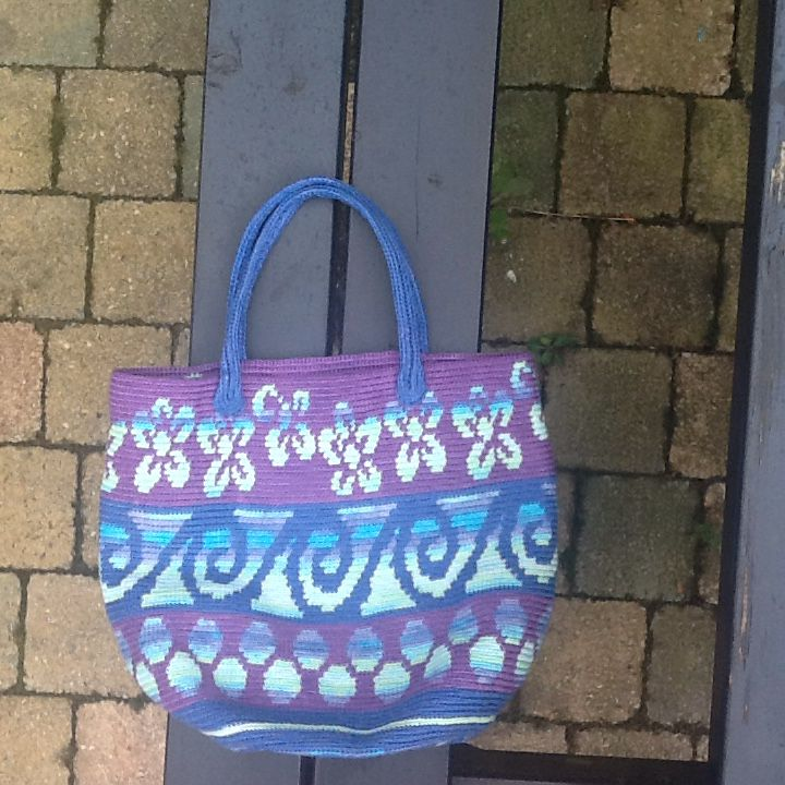 Selfmade handbag in mochilla crochet style. Crochet bag.