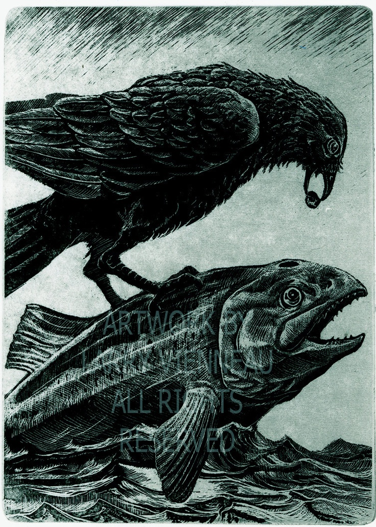 RAVEN Helps Salmon To Swim- Raven (bird, Salmon, Native American,crow) Series- Etching Blue Black Ink, 5 inch x 8 inches, 2012.