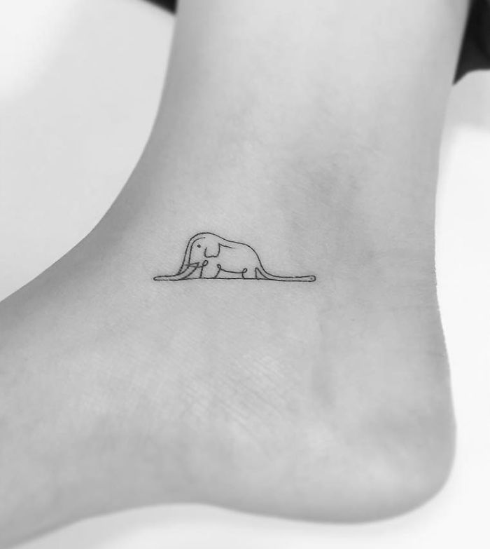 13+ Minimalist Tattoos By A Korean Artist  elefante del principito                                                                                                                                                    More