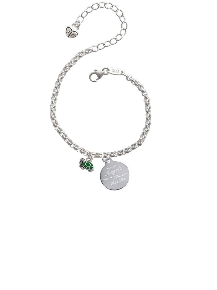 Mini Green Turtle - Side Not All Angels Have Wings Some Wear Scrubs Engraved Bracelet >>> You can find more details by visiting the image link. (This is an affiliate link and I receive a commission for the sales)