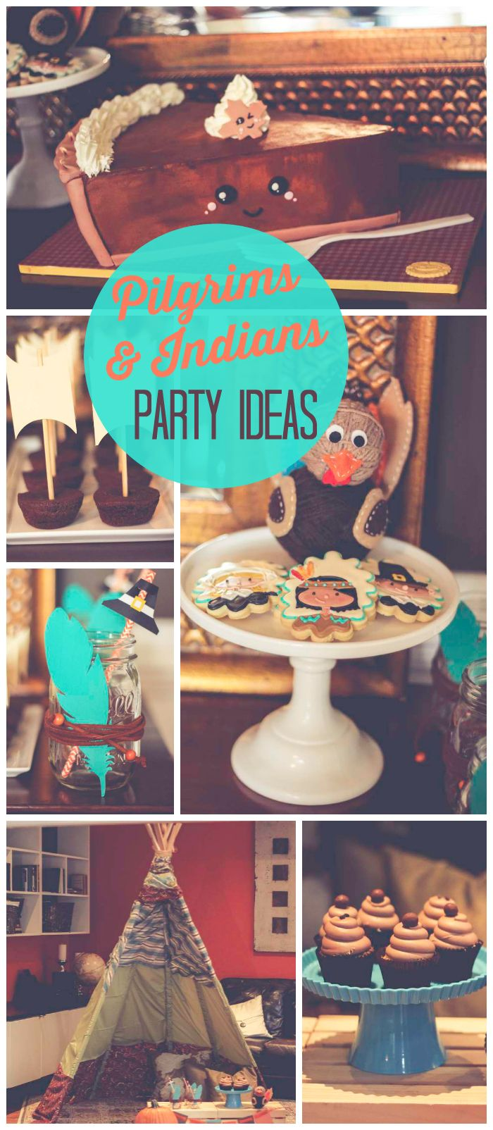 "A Pilgrims and Indians birthday party in turquoise and orange with ""Mayflower"" brownie bites and a teepee! See more party planning ideas at CatchMyParty.com!"
