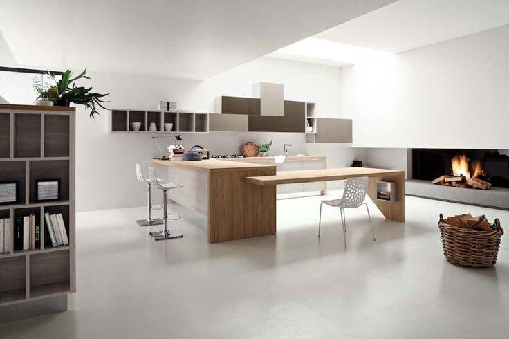 TIMO, il design in cucina. Composizione con basi e colonne in particelle di legno color ghiaccio ...