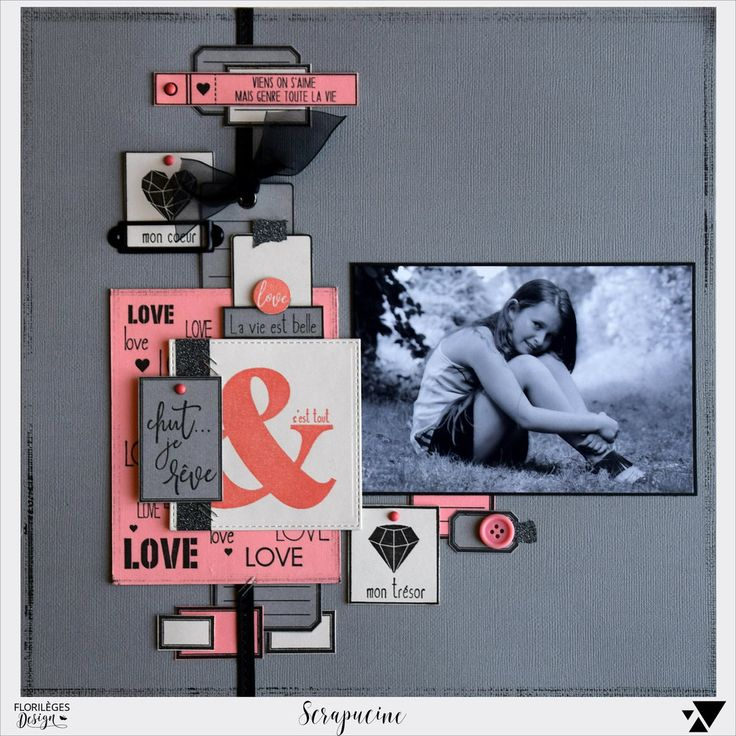 Bonjour, voici deux pages réalisées avec les nouveaux tampons Florilèges Design, collection Graphic Love de Patricia Da Silva A bientôt Bizzzzzzzzzzzzz