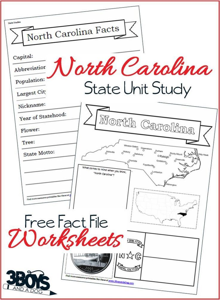 These North Carolina State Fact File Worksheets are the perfect worksheets to help you and your child record many facts about the state of North Carolina.  When doing your 50 states unit study this year, you can keep a complete notebook about the entire United States.