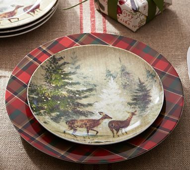 My Christmas Dishes!! Deer in Snow Salad Plate, Set of 4 #potterybarn