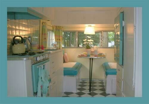 Retro #Camper. #Glamping. I want the inside and outside of my little camper to be these exact colors!!