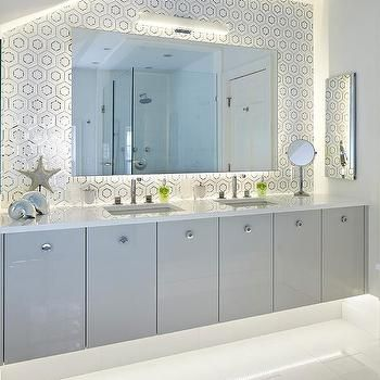 Gray Lacquered Floating Bath Vanity Cabinets With His And