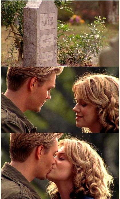 """Peyton: """"So, this is Lucas. The boy I've been telling you about. Look what he's done, he got me smiling. Can you believe it?"""" Lucas: """"Hey Mrs. Sawyer. I just want you to know that Peyton is the best thing I have in my life. I wouldn't even be here if it wasn't for her."""" <3"""