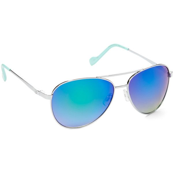 Jessica Simpson Collection Blue Aviator Sunglasses ($18) ❤ liked on Polyvore featuring accessories, eyewear and sunglasses