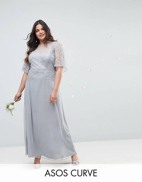 402a2ee4503 ASOS DESIGN Curve Bridesmaid embellished lace insert flutter sleeve maxi  dress