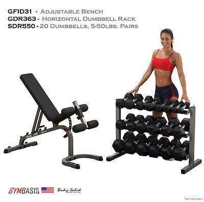 NEW Body-Solid GFID31 Bench, Rubber Dumbbells 5-50lb 20pcs, Dumbbell Rack GDR363