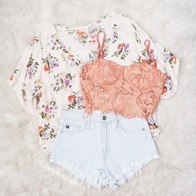 Lace and floral kimono