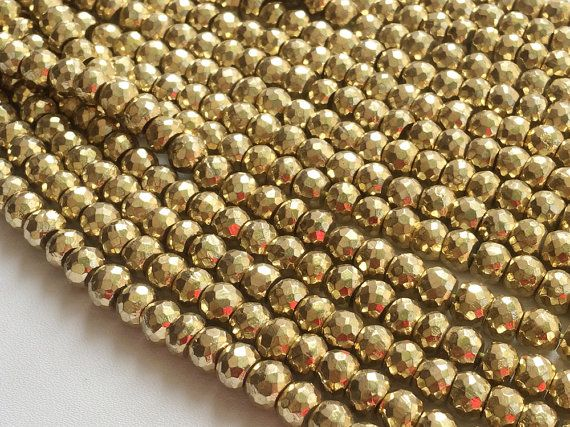 Pyrite Gold Pyrite Beads Golden Pyrite Faceted by gemsforjewels
