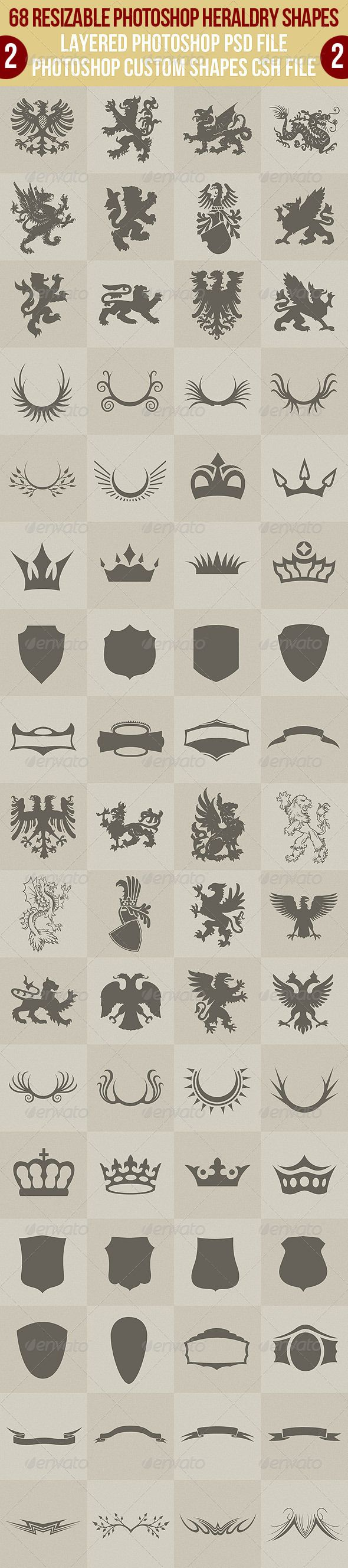 68 Photoshop Heraldry Shapes 2 - http://graphicriver.net/item/68-photoshop-heraldry-shapes-2/2622486?ref=cruzine