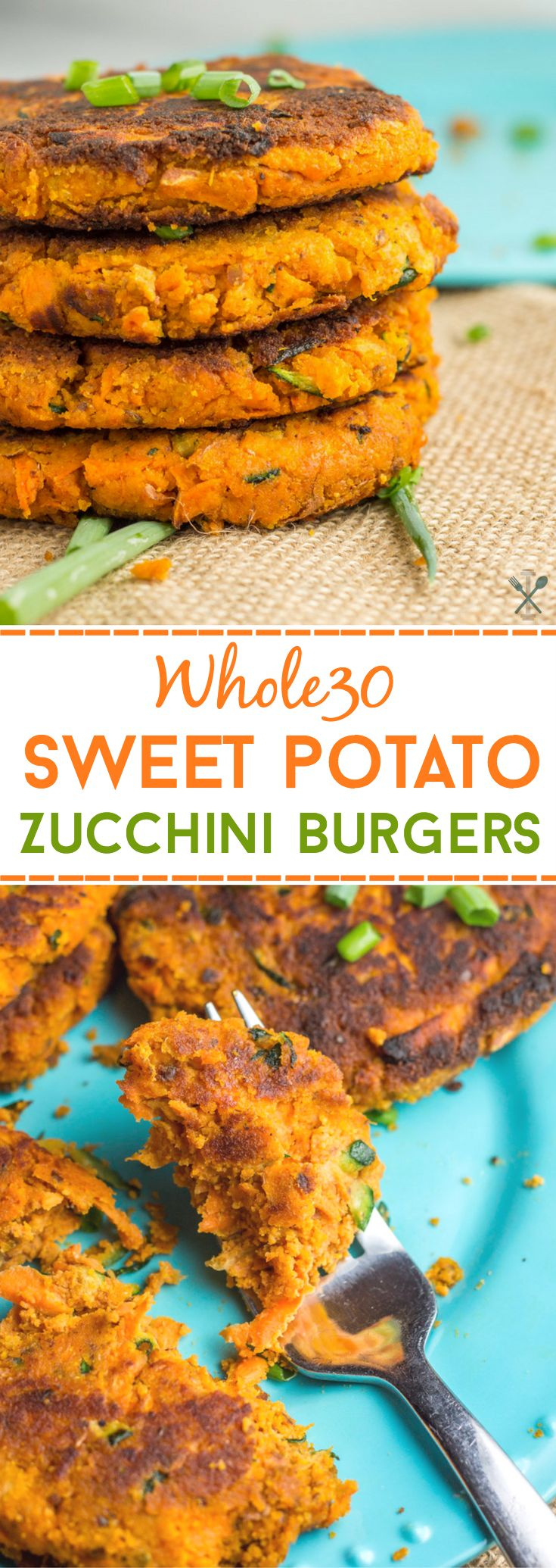 Whole30 compliant, gluten free sweet potato burgers with zucchini.