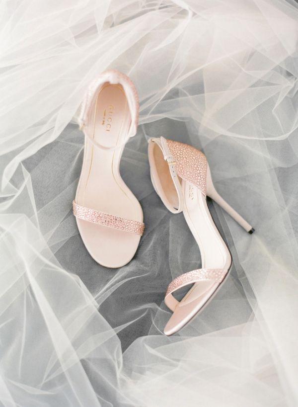 Rose Gold Crystal Bridal Shoes   KT Merry Photography   http://heyweddinglady.com/berry-rose-gold-glam-wedding-inspiration/