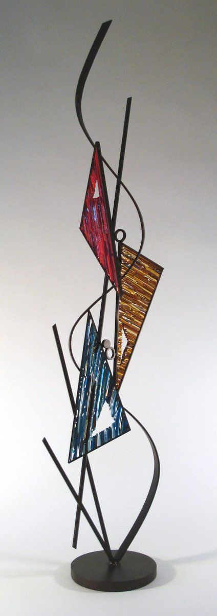 Custom Made Triangle Fused Glass And Metal Sculpture