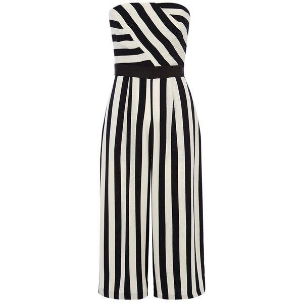 Coast Selena Stripe Jumpsuit, Mono (€125) ❤ liked on Polyvore featuring jumpsuits, jump suit, strapless jumpsuit, bandeau jumpsuit, long jumpsuit and cropped jumpsuit
