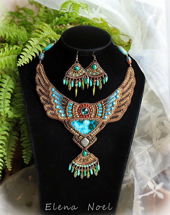 Small necklace in Egyptian style Necklace Bead by ElenNoel ~Materials: chrysocolla, malachite beads, pyrite, Swarovski crystal, elite Japanese Toho beads, leather, Toho beads, Egyptian style