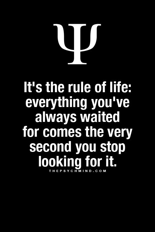 It's the rule of life: everything you've always waited for comes the very second you stop looking for it.