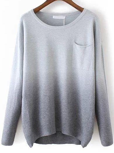 Grey Dip Hem Ombre Pocket Sweater