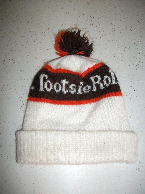 ddb456b1f 80s Tootsie Roll Winter Hat Cap Pom Skull Cap Beanie Touque 1980s Retro  Fashion Vintage Advertising Snow Ski Hat Adult One Size