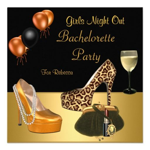bachelorette party gold shoes hi heels wine glass card - Cheap Bachelorette Party Invitations