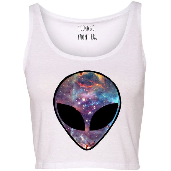 Galaxy Alien Head Tank Crop Top ($16) ❤ liked on Polyvore featuring tops, shirts, crop tops, tank tops, tanks, silver, women's clothing, pink tank, checkered shirt y crop shirts
