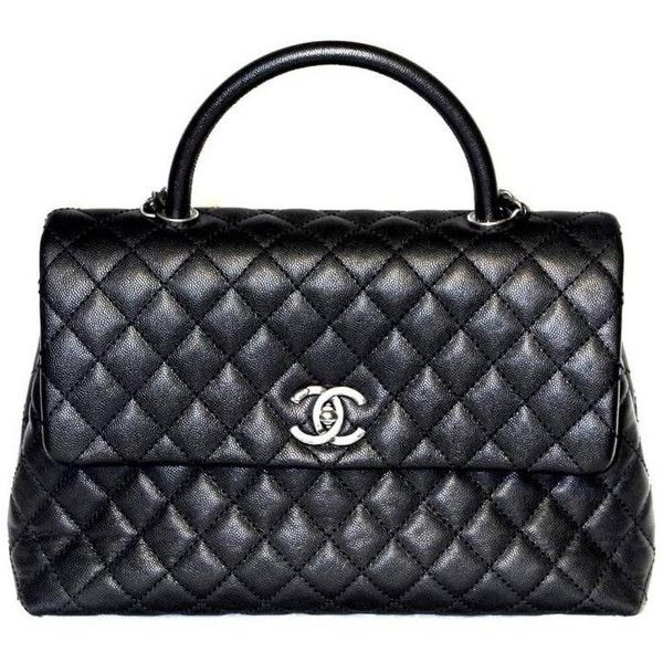 Preowned Chanel Coco Handle Bag - Black Caviar Leather - New (4,410 CAD) ❤ liked on Polyvore featuring bags, handbags, black, preowned handbags, real leather handbags, genuine leather purse, chanel purse and chain purse