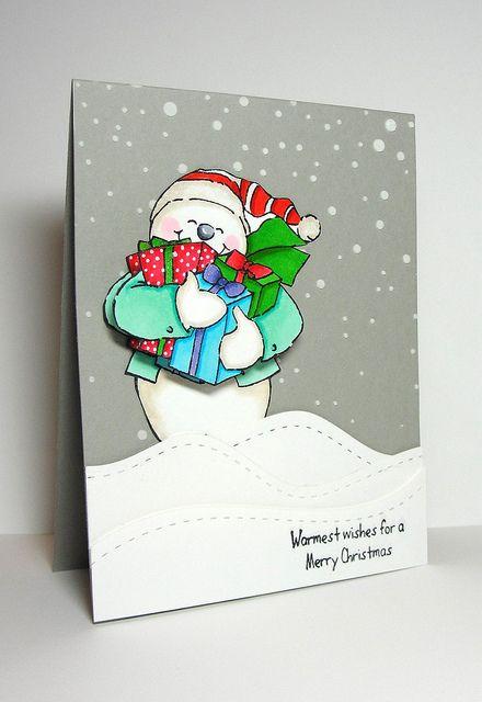 Art Impressions: Ai Shakers: Snowman Shaker (Sku#4514) ... Handmade Christmas winter themed card.
