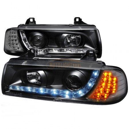 Spec-D LHP-E362JM-8V2-TM | 1997 BMW 3 Series Chrome/Clear Halo Projector Headlights for Coupe/Sedan/Wagon