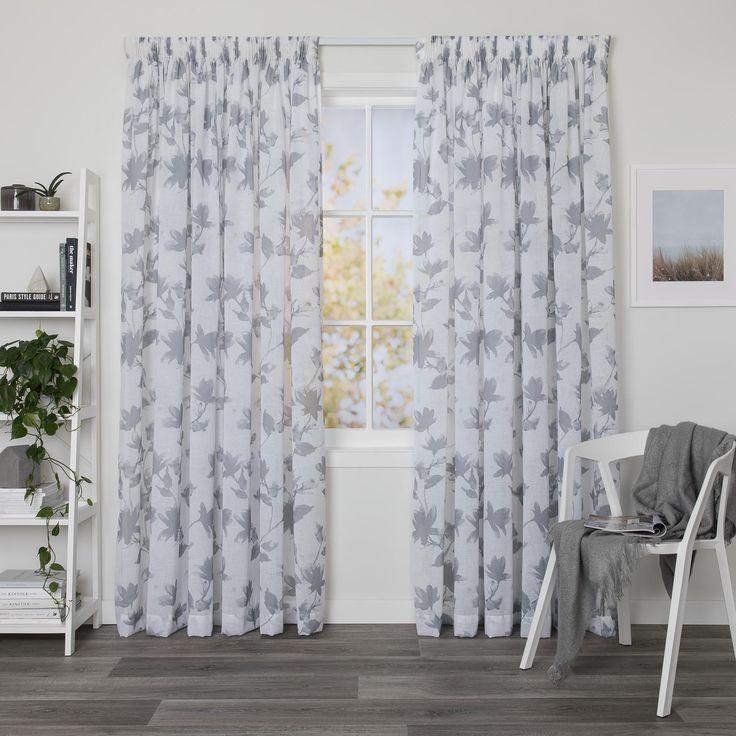 McKenzie Smoke - Readymade Sheer Pencil Pleat Curtain - Curtain Studio buy curtains online