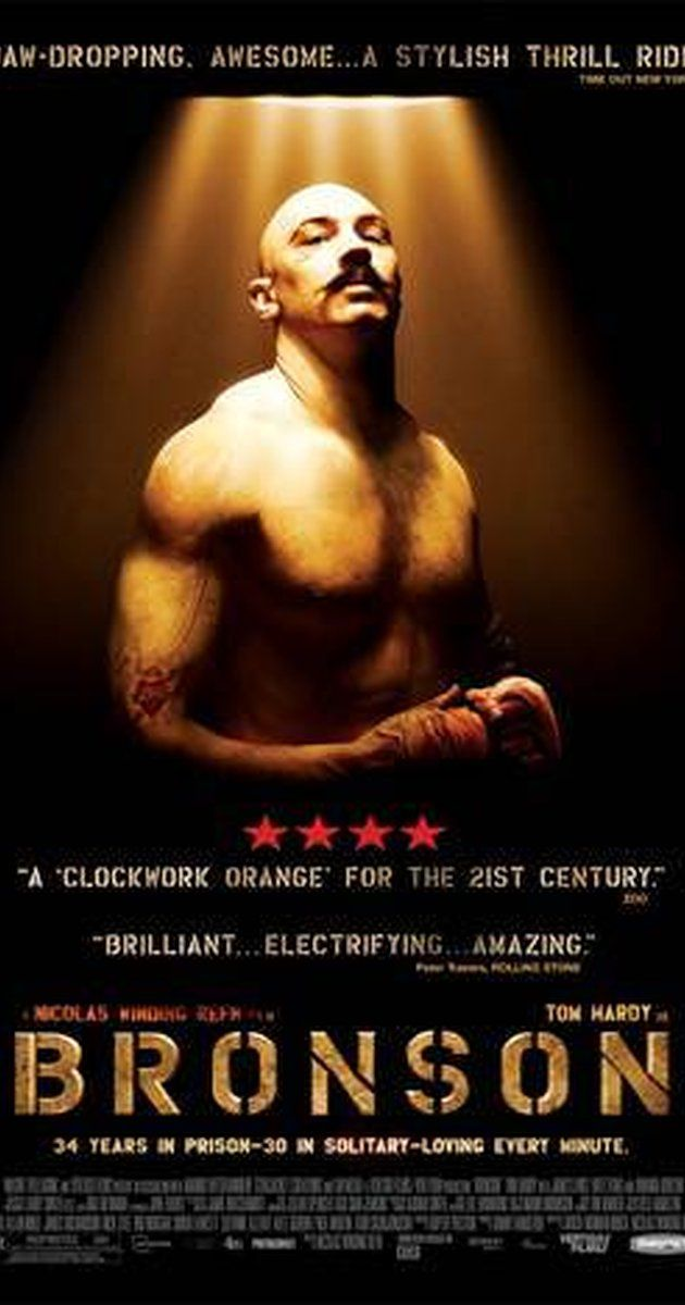 Directed by Nicolas Winding Refn.  With Tom Hardy, Kelly Adams, Luing Andrews, Katy Barker. A young man who was sentenced to seven years in prison for robbing a post office ends up spending three decades in solitary confinement. During this time, his own personality is supplanted by his alter-ego, Charles Bronson.