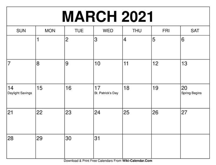 March 2021 Calendar   Calendar printables, Print calendar ...
