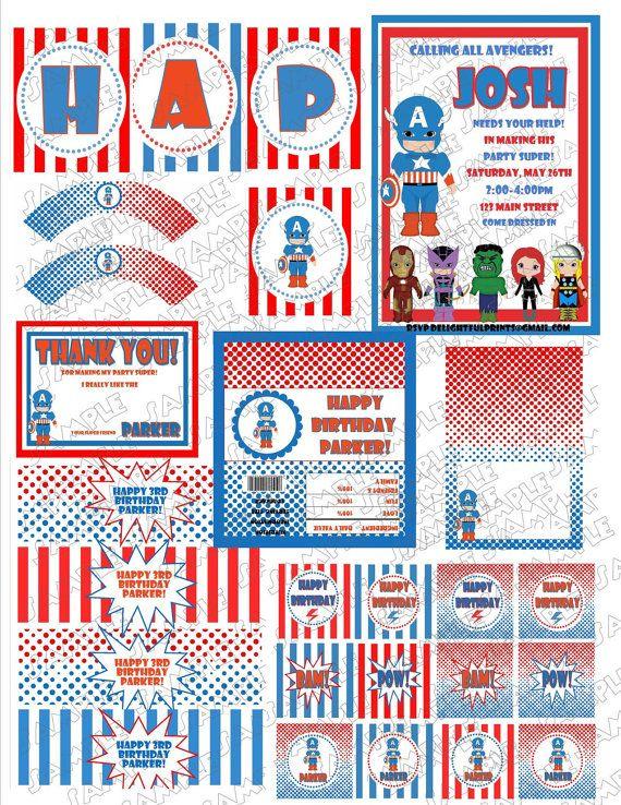 Captain America birthday NO INVITE printable por greenmelonstudios