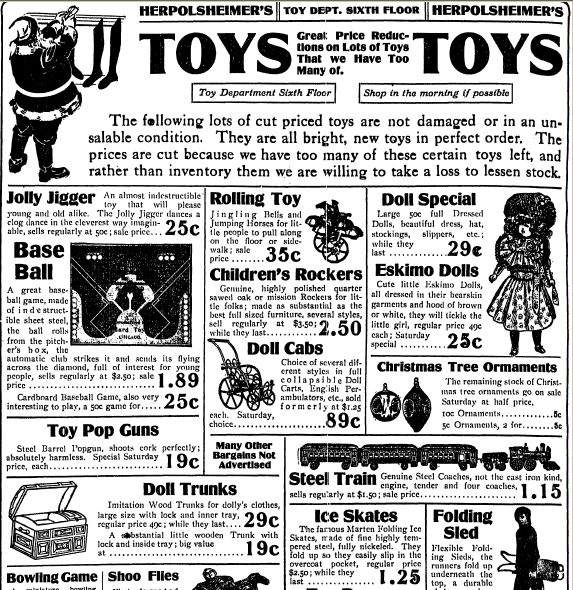 """Christmas toys advertisement, published in the Grand Rapids Press newspaper (Grand Rapids, Michigan), 23 December 1910. Read more on the GenealogyBank blog: """"Christmas Toys & Gifts from Yesteryear in Old Newspaper Ads."""" http://blog.genealogybank.com/christmas-toys-gifts-from-yesteryear-in-old-newspaper-ads.html"""
