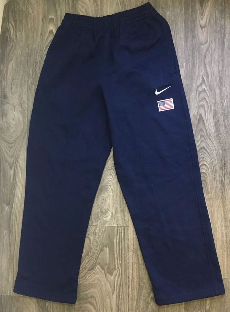 Nike Sweatpants Team USA Sewn Flag Soft Drawstring Waist Pants Joggers Swoosh M #Nike #Sweatpants