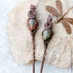 """Copper hairpins / Заколки ручной работы. Медные палочки для волос """"Розовый сад"""". Медь и яшма. Подарок для Нимфы          ~ Рина ~. Ярмарка Мастеров."""