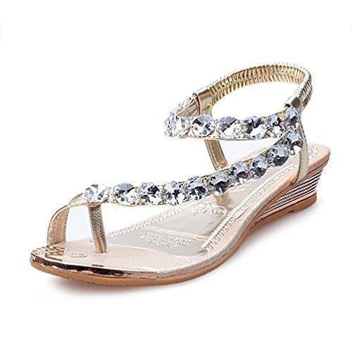 Oferta: 11.99€. Comprar Ofertas de YOUJIA Mujer Thong Sandalias Casual Sandalias Plana Zapatos Sandalias De Diamante De Imitación (Gold,36EU) barato. ¡Mira las ofertas!