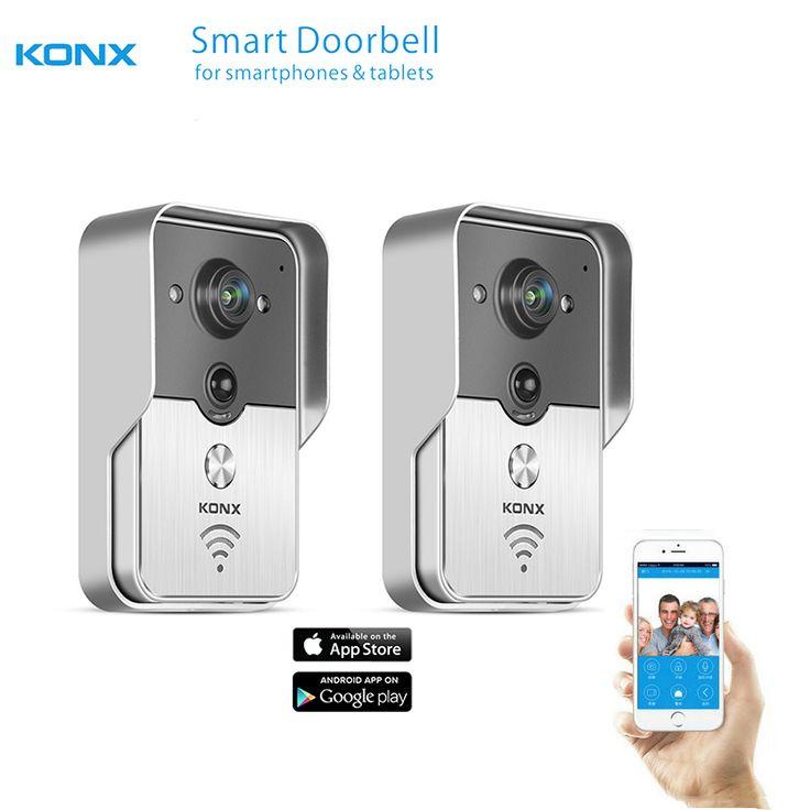 2017 KONX WiFi Wireless Video Door Phone intercom Doorbell peephole Camera PIR IR Night Vision Alarm Android IOS Smart Home 2PCS