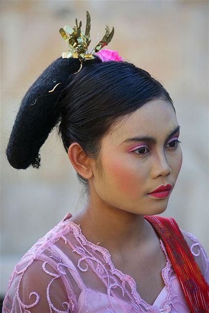 Woman With A Traditional Hairstyle During A Festival, Mataram, Lombok Island, Indonesia