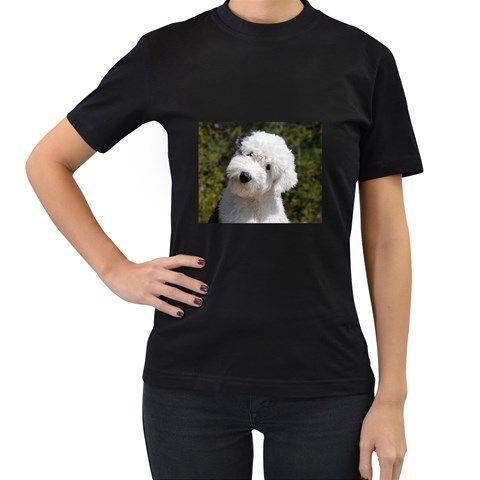 Old+English+Sheep+Dog+Pup+Women's+T-shirt+(Black)