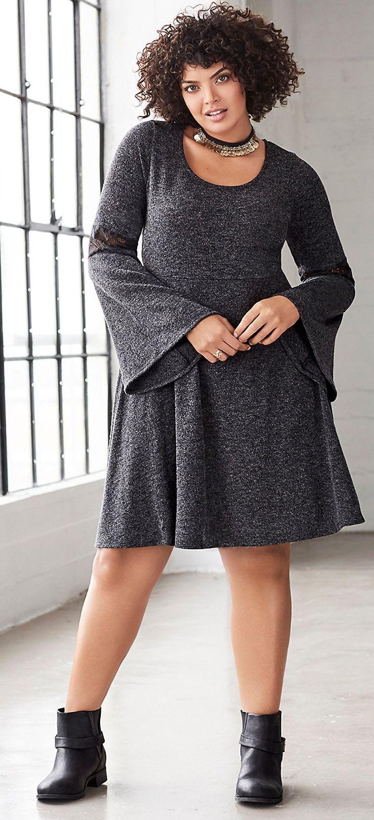 Plus Size Knit Skater Dress