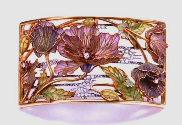 ART NOUVEAU NECKLACE PLAQUE~, Louis Aucoc, Paris, ca. 1900. Gold, platinum, diamond and plique-a-jour enamel plaque de cou. Worn attached to a Silk or velvet ribbon. Given to Newark in 1941.