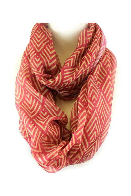 Coral Infinity Scarf // great pattern