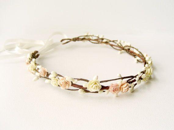 Peach flower crown, Floral headband, Wedding hair accessories, Bridal headpiece, Woodland wreath - PEACHY