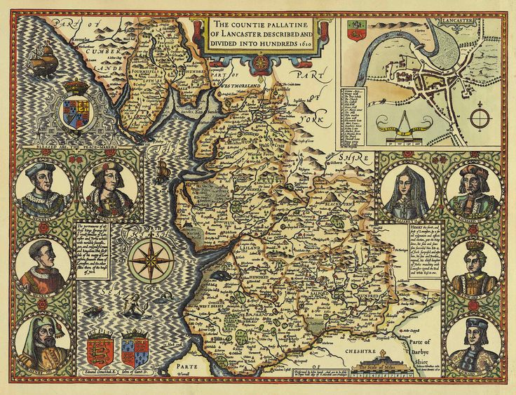 1610 Lancashire by John Speed, featuring  my home town and village