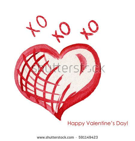 Valentine's Day Greeting Card with Watercolor red heart and love text - XOXOXO. Happy Valentine's Day