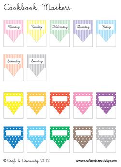 Free Printable Cookbook Markers. Would make nice tabs for journals and smashbooks.