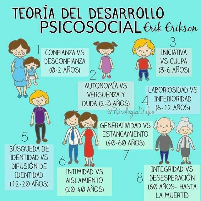 Erik Erikson, mediante su teoría del desarrollo psicosocial plantea 8 etapas que expresan una serie de competencias y conflictos por los cuales atraviesa el ser humano a lo largo de la vida: 1. Confianza VS Desconfianza (0-2 Años) En esta etapa es importante la interacción entre el bebé y la madre; determinará sus futuros vínculos con las demás personas. 2. Autonomía VS Vergüenza y duda (2-3 Años) El niño emprende su desarrollo cognitivo y muscular. Es común que en este proceso ocurran…